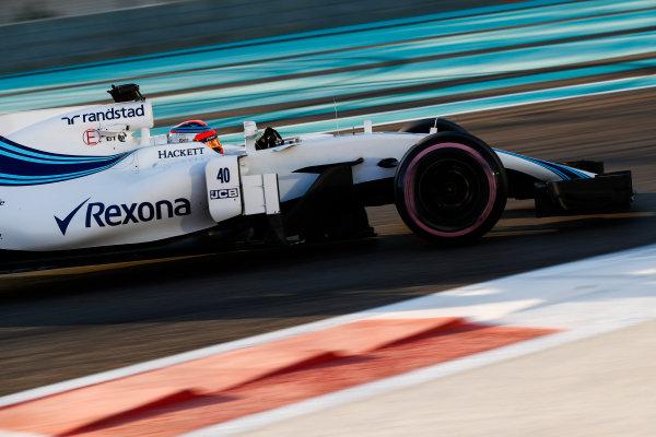 Yas Marina Circuit, Abu Dhabi, United Arab Emirates. Wednesday 29 November 2017. Robert Kubica, Williams FW40 Mercedes.  World Copyright: Zak Mauger/LAT Images  ref: Digital Image _O3I2028