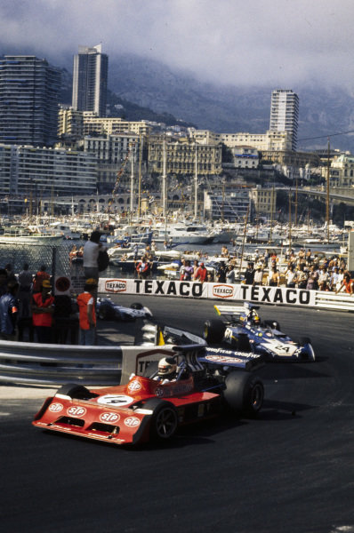 Jean-Pierre Jarier, March 731 Ford leads Carlos Pace, Surtees TS14A Ford.