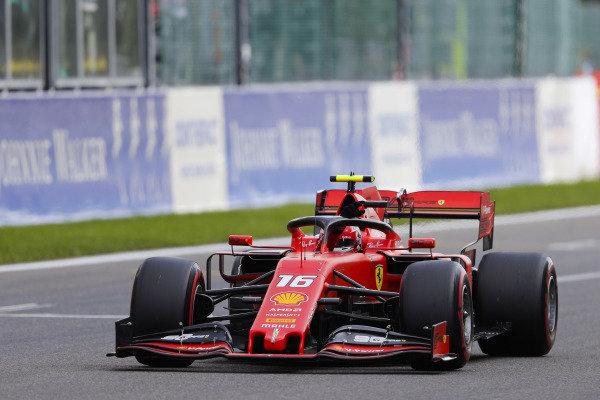 Charles Leclerc, Ferrari SF90, celebrates pole position