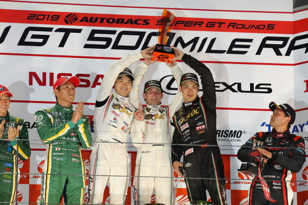 GT300 Winners Tsubasa Takahashi, Andre Couto & Kiyoto Fujinami,  T-DASH JLOC LAMBORGHINI HURRACAN GT3, celebrate on the podium ahead of Shigekazu Wakisaka & Hiroki Yoshida SAITAMA TOYOPET GB Toyota MARK X MC, 2nd, and Ryo Michigami & Hiroki Otsu, Modulo Drago Corse KENWOOD Honda NSX GT3, 3rd