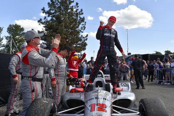 Will Power, Team Penske Chevrolet celebrates the win in victory lane