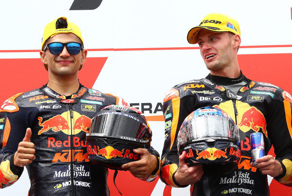 Podium: race winner Jorge Martin, KTM Ajo, second place Brad Binder, KTM Ajo
