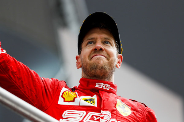 Sebastian Vettel, Ferrari, 2nd position, on the podium