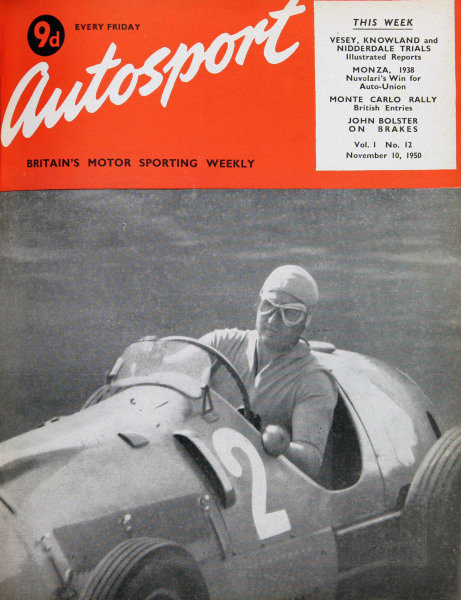 Cover of Autosport magazine, 10th November 1950. Main Picture: Alberto Ascari in his Ferrari 166F2/50, winning the first post-war German Grand Prix at the Nurburgring circuit.