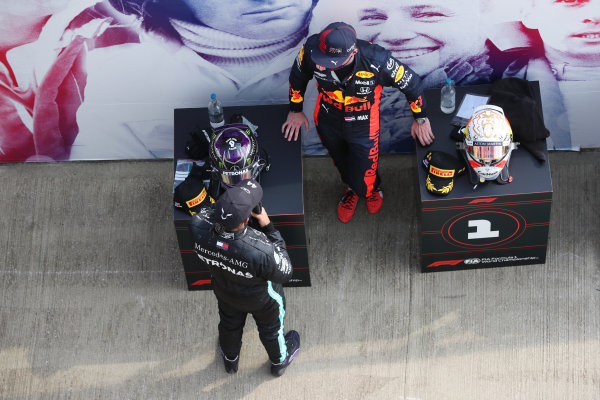 Lewis Hamilton, Mercedes-AMG Petronas F1, 2nd position,, and Max Verstappen, Red Bull Racing, 1st position