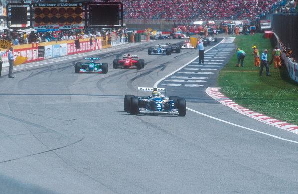 1994 San Marino Grand Prix.Imola, Italy.29/4-1/5 1994.Ayrton Senna (Williams FW16 Renault) leads Michael Schumacher (Benetton B194 Ford). Ref-94 SM 31.World Copyright - LAT Photographic