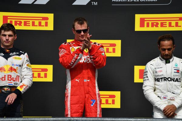 (L to R): Max Verstappen, Red Bull Racing Kimi Raikkonen, Ferrari and Lewis Hamilton, Mercedes AMG F1 on the podium