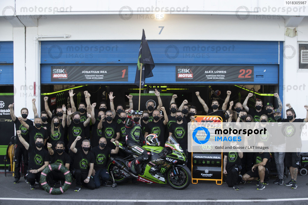 Jonathan Rea, Kawasaki Racing Team celebrates his sixth World Championship.