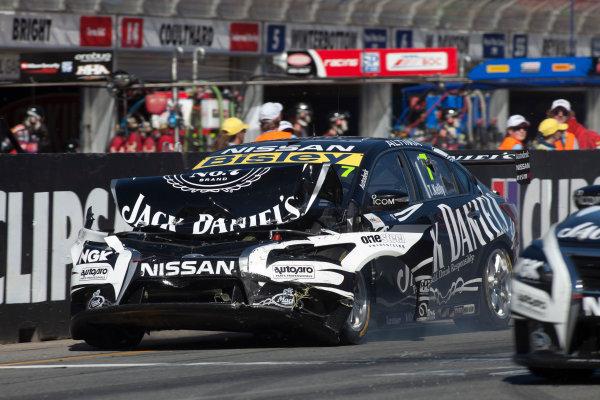 2013 V8 Supercar Championship. Round 1. Clipsal 500, Adelaide. 3rd March 2013. Sunday Race 2. Todd Kelly (Jack Daniel's Racing/Nissan Motorsport – Nissan Altima) with crash damage. Action.  World Copyright:  Daniel Kalisz/LAT Photographic Ref: Digital Image IMG_3097.jpg .