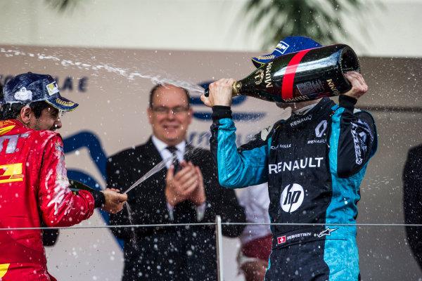 2016/2017 FIA Formula E Championship. Monte-Carlo, Monaco Saturday 13 May 2017. Sebastien Buemi (SUI), Renault e.Dams, Spark-Renault, Renault Z.E 16, celebrates on the podium with Lucas Di Grassi (BRA), ABT Schaeffler Audi Sport, Spark-Abt Sportsline, ABT Schaeffler FE02. Photo: Andrew Ferraro/LAT/Formula E ref: Digital Image _FER8833