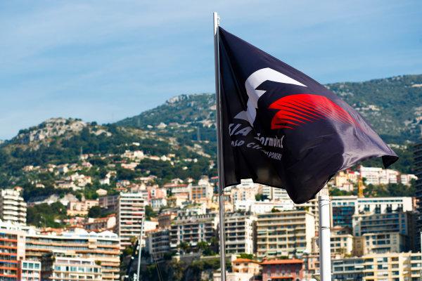 Monte Carlo, Monaco. Wednesday 24 May 2017. F1 Flag above the harbour. World Copyright: Sam Bloxham/LAT Images ref: Digital Image _W6I9813