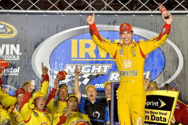22-23 August, 2014, Bristol, Tennessee USA Joey Logano celebrates his win in Victory Lane ? 2014, John Harrelson LAT Photo USA