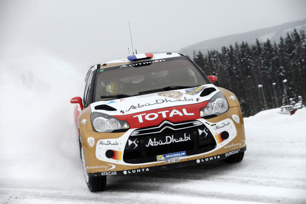 Sebastien Loeb (FRA) and Daniel Elena (MC), Citroen DS3 WRC on stage 3. FIA World Rally Championship, Rd2, Rally Sweden, Karlstad, Sweden, Day One, Friday 8 February 2013
