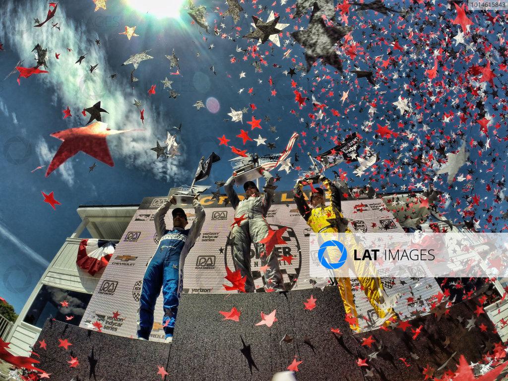 24-26 June, 2016, Elkhart Lake, WIsconsin, USA , Tony Kanaan, Will Power, Graham Rahal, priority, podium ?2016, Michael L. Levitt LAT Photo USA