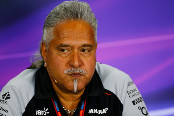 Silverstone, Northamptonshire, UK Friday 08 July 2016. Vijay Mallya, Team Principal and Managing Director, Force India, in the Team Principals Press Conference. World Copyright: Andy Hone/LAT Photographic ref: Digital Image _ONY8107