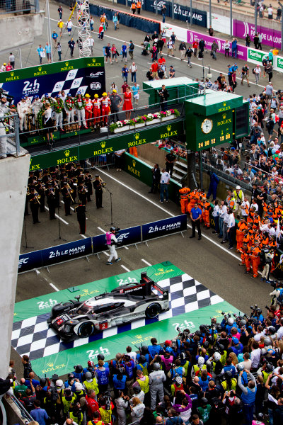 2016 Le Mans 24 Hours. Circuit de la Sarthe, Le Mans, France. Sunday 19 June 2016. Porsche Team / Porsche 919 Hybrid - Romain Dumas (FRA), Neel Jani (CHE), Marc Lieb (DEU), Toyota Gazoo Racing / Toyota TS050 - Hybrid - Stephane Sarrazin (FRA), Michael Conway (GBR), Kamui Kobayashi (JPN), Audi Sport Team Joest / Audi R18 - Lucas Di Grassi (BRA), Loic Duval (FRA), Oliver Jarvis (GBR), Rebellion Racing / Rebellion R-One-AER - Nicolas Prost (FRA), Nick Heidfeld (DEU), Nelson Piquet (NLD).  World Copyright: Zak Mauger/LAT Photographic ref: Digital Image _79P9137