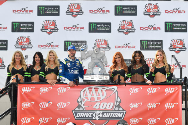 Monster Energy NASCAR Cup Series AAA 400 Drive for Autism Dover International Speedway, Dover, DE USA Sunday 4 June 2017 Jimmie Johnson, Hendrick Motorsports, Lowe's Chevrolet SS in victory lane World Copyright: Logan Whitton LAT Images ref: Digital Image 17DOV1LW3821