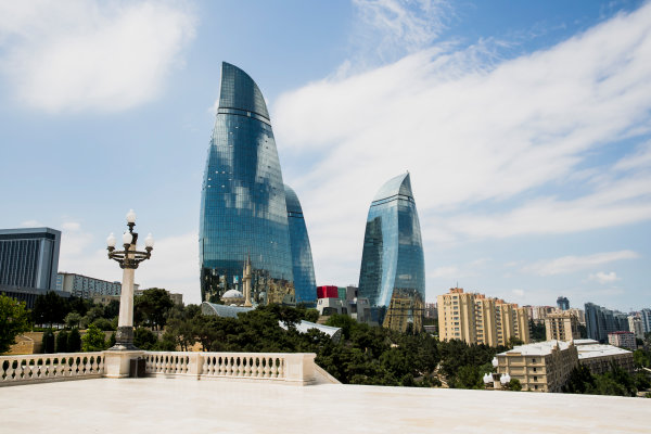Baku City Circuit, Baku, Azerbaijan. Wednesday 21 June 2017. A view of the Flame Towers from Dagustu (Upland) Park. World Copyright: Zak Mauger/LAT Images ref: Digital Image _56I5978