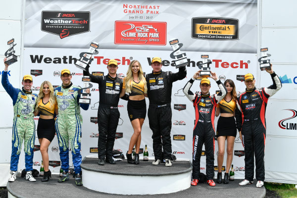 IMSA Continental Tire SportsCar Challenge Lime Rock Park 120 Lime Rock Park, Lakeville, CT USA Saturday 22 July 2017  27, Mazda, Mazda MX-5, ST, Britt Casey Jr, Matt Fassnacht, 25, Mazda, Mazda MX-5, ST, Chad McCumbee, Stevan McAleer, 84, BMW, BMW 328i, ST, James Clay, Tyler Cooke World Copyright: Richard Dole LAT Images ref: Digital Image RD_LRP_17_01187