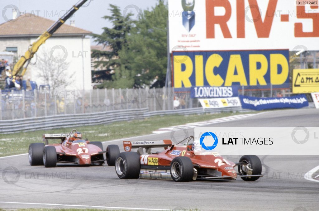 1982 San Marino Grand Prix.Imola, Italy. 23-25 April 1982.Didier Pironi leads Gilles Villeneuve (both Ferrari 126C2). They finished in 1st and 2nd positions respectively.World Copyright: LAT PhotographicRef: 35mm transparency 82SM62