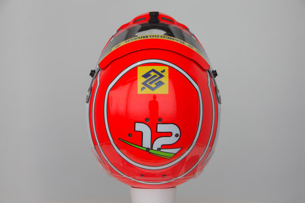 Hinwil, Switzerland. Thursday 29 January 2015. Helmet of Felipe Nasr, Sauber.  World Copyright: Sauber F1 Team (Copyright Free FOR EDITORIAL USE ONLY) ref: Digital Image 2015_SAUBER_HELMET_06