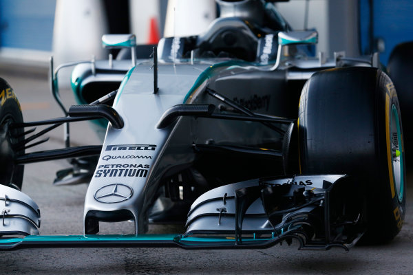 2015 F1 Pre Season Test 1 - Day 1 Circuito de Jerez, Jerez, Spain. Sunday 1 February 2015. Mercedes W06 nose. World Copyright: Alastair Staley/LAT Photographic. ref: Digital Image _R6T3056