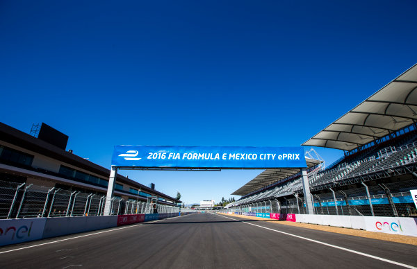 2015/2016 FIA Formula E Championship. Mexico City ePrix, Autodromo Hermanos Rodriguez, Mexico City, Mexico. Friday 11 March 2016. A view of the start/finish straight. Photo: Zak Mauger/LAT/Formula E ref: Digital Image _L0U7422