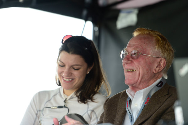 8-10 January,  2016, Daytona Beach, Florida USA 0, Elan, DeltaWing DWC13, P, Katherine Legge and team owner Don Panoz share a laugh. ©2016, Richard Dole LAT Photo USA