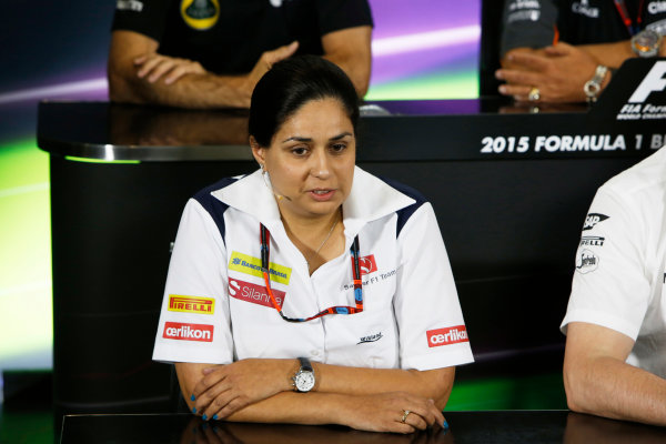Silverstone Circuit, Northamptonshire, England. Friday 3 July 2015. Monisha Kaltenborn, Team Principal and CEO, Sauber, in the team principals Press Conference. World Copyright: Andrew Ferraro/LAT Photographic ref: Digital Image _FER1953