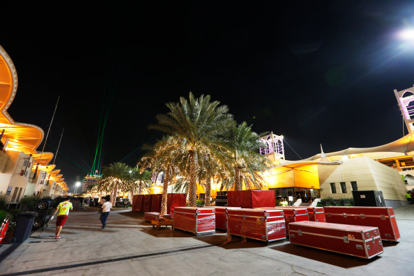 Bahrain International Circuit, Sakhir, Bahrain. Sunday 19 April 2015. The paddock is packed away after the race. World Copyright: Alastair Staley/LAT Photographic. ref: Digital Image _79P9221
