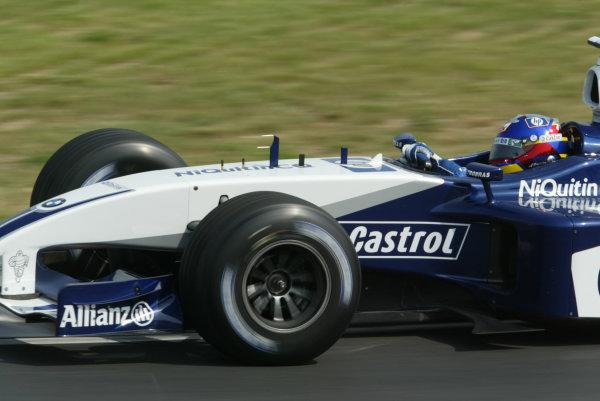2003 Hungarian Grand Prix - Friday Qaulifying, Budapest, Hungary.22nd August 2003.Juan-Pablo Montoya, BMW Williams FW24, action.World Copyright LAT Photographic.Digital Image Only.