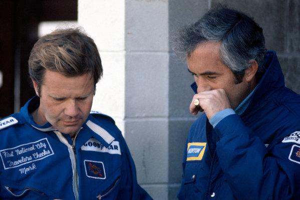 1974 USAC Indycar Series.Michigan, MI, USA. 15th September 1974.Mark Donohue and Roger Penske.World Copyright: Murenbeeld/LAT Photographic