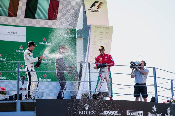 2017 FIA Formula 2 Round 9. Autodromo Nazionale di Monza, Monza, Italy. Sunday 3 September 2017. Sergio Sette Camara (BRA, MP Motorsport), Luca Ghiotto (ITA, RUSSIAN TIME), Antonio Fuoco (ITA, PREMA Racing).  Photo: Zak Mauger/FIA Formula 2. ref: Digital Image _56I9232