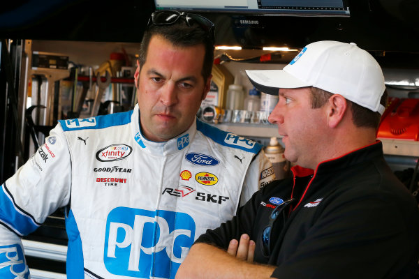 NASCAR XFINITY Series Drive for the Cure 300 Charlotte Motor Speedway, Concord, NC Friday 6 October 2017 Sam Hornish Jr, PPG Ford Mustang and Brian Wilson World Copyright: Russell LaBounty LAT Images