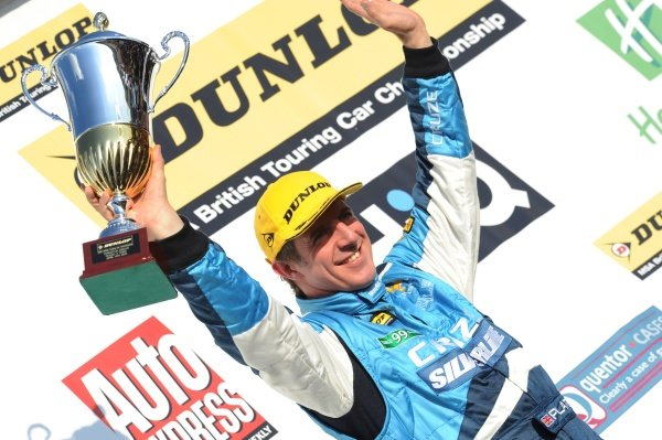 Jason Plato (GBR), Chevrolet Cruze, finished second in race 1, fourth in race 2 and third in race 3.British Touring Car Championship, Rd1, Thruxton, England, 4 April 2010.