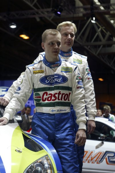 2006 Autosport International ExhibitionBirmingham NEC, Thursday 12th January 2006.Mikko Hirvonen and co-driver Jarmo Lehtinen pose with their new car.World Copyright: Malcolm Griffiths/LAT Photographicref: Digital Image Only