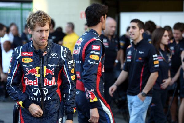 Interlagos, Sao Paulo, Brazil. Thursday 22nd November 2012. Sebastian Vettel, Red Bull Racing, and Mark Webber, Red Bull Racing.  World Copyright: Andy Hone/LAT Photographic ref: Digital Image HONY0265
