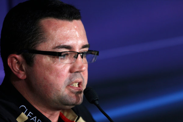 2012 Indian Grand Prix - Friday Buddh International Circuit, New Delhi, India. 26th October 2012. Eric Boullier, Team Principal, Lotus F1, in the Press Conference.  World Copyright:Andrew Ferraro/LAT Photographic ref: Digital Image _79P8405