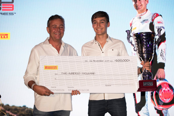 2017 Awards Evening. Yas Marina Circuit, Abu Dhabi, United Arab Emirates. Sunday 26 November 2017. George Russell (GBR, ART Grand Prix).  Photo: Zak Mauger/FIA Formula 2/GP3 Series. ref: Digital Image _56I3875