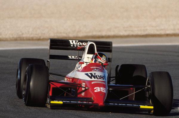 Aguri Suzuki (JPN) Zakspeed 891 Yamaha.Formula One World Championship, 1989.DIGITAL IMAGE