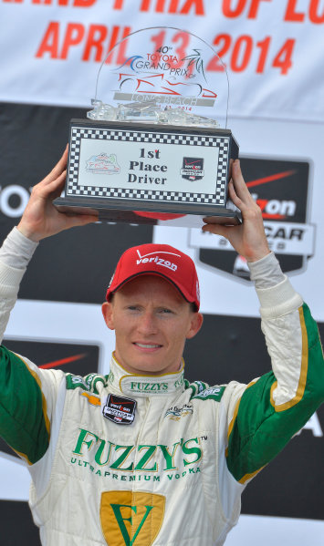 "11-13 April, 2014, Long Beach, California USA #20 Mike Conway Fuzzy""s Vodka/ Ed Carpenter Racing, race winner ©2014, Dan R. Boyd Lat Photo USA"