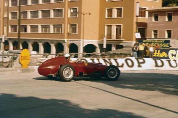 Monte Carlo, Monaco. 16-19 May 1957. Wolfgang von Trips (Lancia-Ferrari D50 801) during practice. Ref-57 MON 22. World Copyright - LAT Photographic