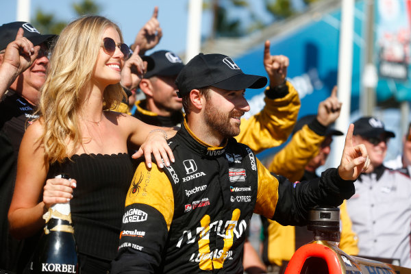 2017 Verizon IndyCar Series Toyota Grand Prix of Long Beach Streets of Long Beach, CA USA Sunday 9 April 2017 James Hinchcliffe celebrates on the podium World Copyright: Phillip Abbott/LAT Images ref: Digital Image lat_abbott_lbgp_0417_15136