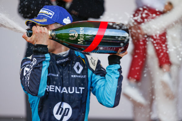 2016/2017 FIA Formula E Championship. Monte-Carlo, Monaco Saturday 13 May 2017. Sebastien Buemi (SUI), Renault e.Dams, Spark-Renault, Renault Z.E 16, sprays the champagne on the podium. Photo: Alastair Staley/LAT/Formula E ref: Digital Image _X0W1365
