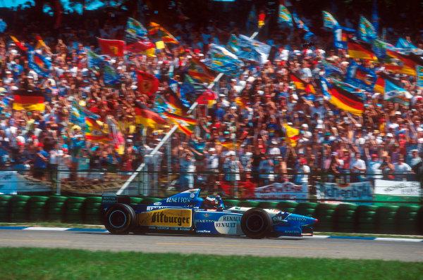 Hockenheim, Germany.28-30 July 1995.Michael Schumacher (Benetton B195 Renault) 1st position.Ref-95 GER 11.World Copyright - LAT Photographic