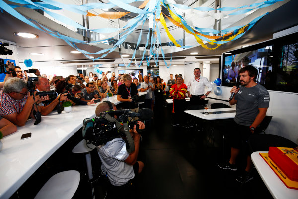 Hungaroring, Budapest, Hungary.  Saturday 29 July 2017. Fernando Alonso, McLaren, celebrates his birthday. World Copyright: Andy Hone/LAT Images  ref: Digital Image _ONZ9883