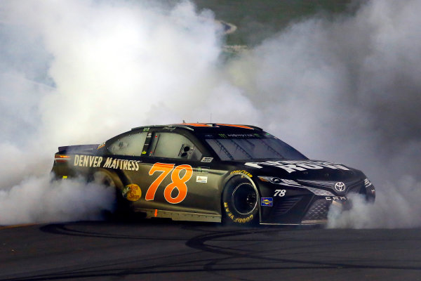 Monster Energy NASCAR Cup Series Quaker State 400 Kentucky Speedway, Sparta, KY USA Saturday 8 July 2017 Martin Truex Jr, Furniture Row Racing, Furniture Row/Denver Mattress Toyota Camry celebrates his win with a burnout  World Copyright: Russell LaBounty LAT Images
