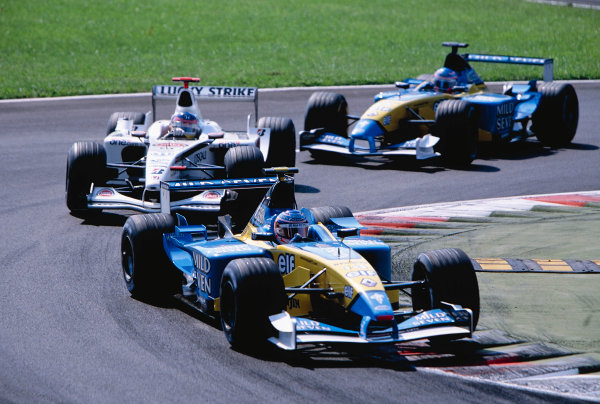 2002 Italian Grand PrixMonza, Italy. 14th - 16th September 2002Jenson Button, Renault R202, leads Olivier Panis, BAR Honda 004, and Jarno Trulli, Renault R202.World Copyright - LAT Photographicref: 35mm Transparency 02_ITA_11