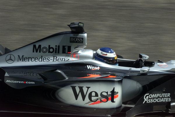2000 German Grand Prix.Hockenheim, Germany. 28-30 July 2000.Mika Hakkinen (McLaren MP4/15 Mercedes) 2nd position.World Copyright - Bellanca/LAT Photographicref: 5mb digital Practice