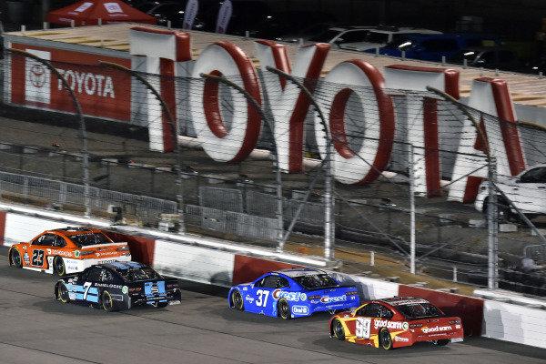 #23: Bubba Wallace, 23XI Racing, Toyota Camry Door Dash and #7: Corey LaJoie, Spire Motorsports, Chevrolet Camaro Shavelogic